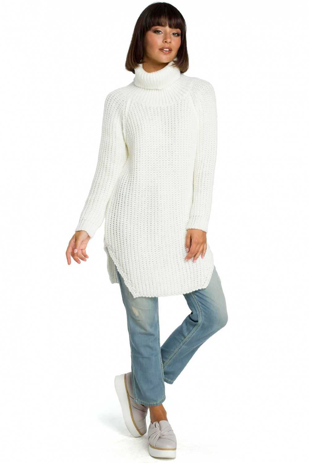 Pulover lung model 121215 BE Knit